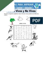 Ficha de Seres Vivos y No Vivos Para Primaria