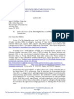 Department of Education Letter - University of Texas - April 24, 2020