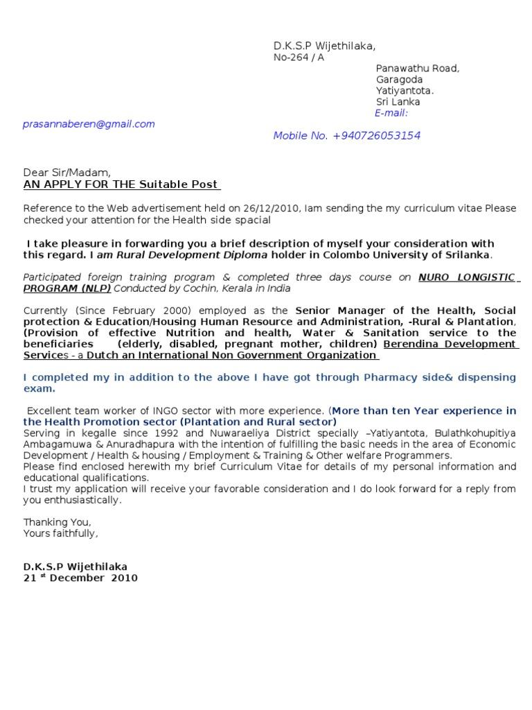 Curriculum Vitae Mr Prasanna Sri Lanka Pharmacist