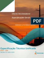 ETU 104 Chave Seccionadora de SE - Especificações Gerais