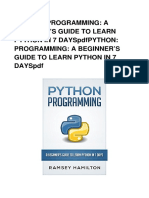Book Download Python Programming a Beginner s Guide to Learn Python in 7 Days