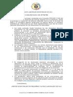 COMUNICADO JUZGADOS LABORALES MUNICIPALES DE CALI