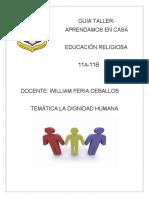 GUIA1 TALLER Aprendamos en Casa Educación Religiosa 11A-11B