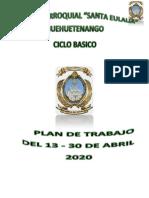 Planificacion del mes de abril Colegio Parroquial Nivel  Basico