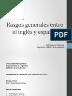 -Rasgos generales entre el inglés y el español