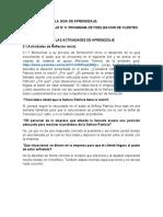 FORMULACION DE LAS ACTIVIDADES INICIALES. SEMANA 1, SEMANA 2