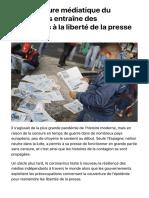 La couverture médiatique du coronavirus entraîne des restrictions à la liberté de la presse   FR24 News France
