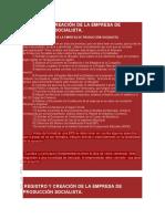 REGISTRO Y CREACIÓN DE LA EMPRESA DE PRODUCCIÓN SOCIALISTA