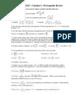 MATH 2413 Calculus I Prerequisite Review