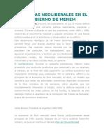 REFORMAS NEOLIBERALES EN EL GOBIERNO DE MENEM