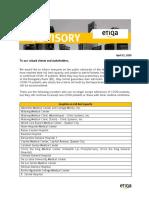 ETIQA PROVIDER'S ADVISORY as of April 21, 2020
