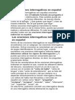 Las oraciones interrogativas en español