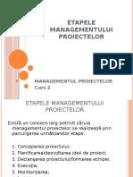 Etapele Managementului Proiectelor Curs 2