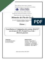 Contribution à l'Adaptation Du Système HACCP Au Niveau de SPA Fruital Coca Cola Boisson Gazeuse