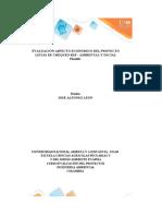 Plantilla Excel Evaluación aspecto económico del proyecto