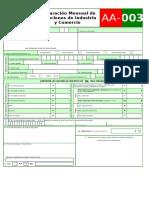 FORMULARIO DECLARACION MENSUAL RETENCIONES ICA VIGENCIA 2019, AA-003