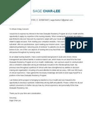 Cover Letter Ucla Health