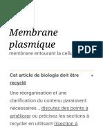 généralité sur la membrane plasmique