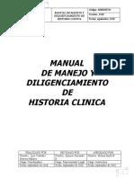 MANUAL DE MANEJO Y DILIGENCIAMIENTO DE HISTORIA CLINICA ACP Y CUERPO DE EMERGENCIA