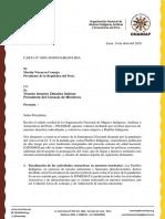 Carta de ONAMIAP a Martín Vizcarra