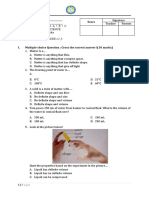 SCIENCE TEST-CHAPTER 1 MATTER