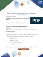 Anexo -1-Ejemplos para el desarrollo Tarea 1 - Proposiciones ,Tablas de Verdad, operaciones entre conjuntos