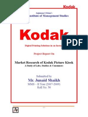Market Research of Kodak Picture Kiosk - A study of labs, studios