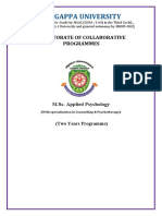 M.Sc Applied Psychology ( Counselling & Psychotherapy