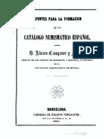 Apuntes Para La Formacion de Un Catalogo Numismatico Espanol - 1857