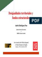 Conferencia sobre desigualdades territoriales y los fondos estructurales de la UE