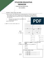 EVALUACIÓN BIMESTRAL algebra