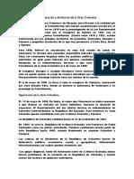 La formación y disolución de la Gran Colombia