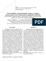 Universalidad y Particularidad, cultura y politicas democraticas (una visión desde la lingüistica cultural)