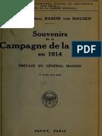 Von Hausen Max - Souvenirs de la campagne de la Marne 1914