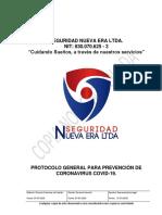 5. PROTOCOLO GENERAL PARA PREVENCIÓN DE CORONAVIRUS COVID-19