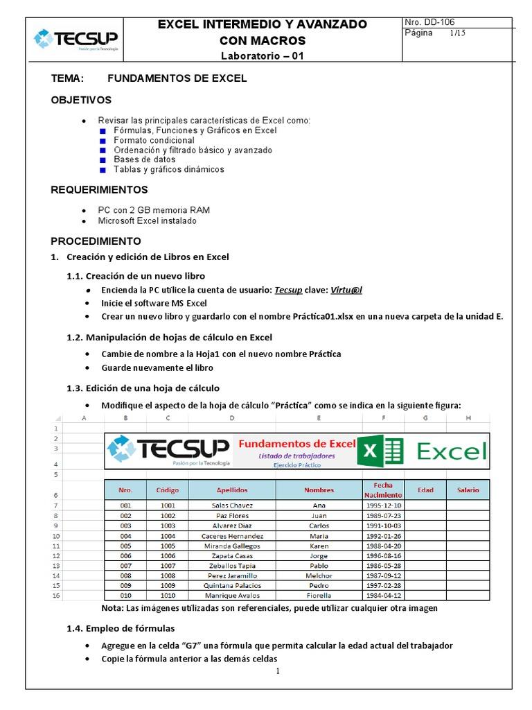 Laboratorio 20   Fundamentos de Excel   Microsoft Excel   Software ...
