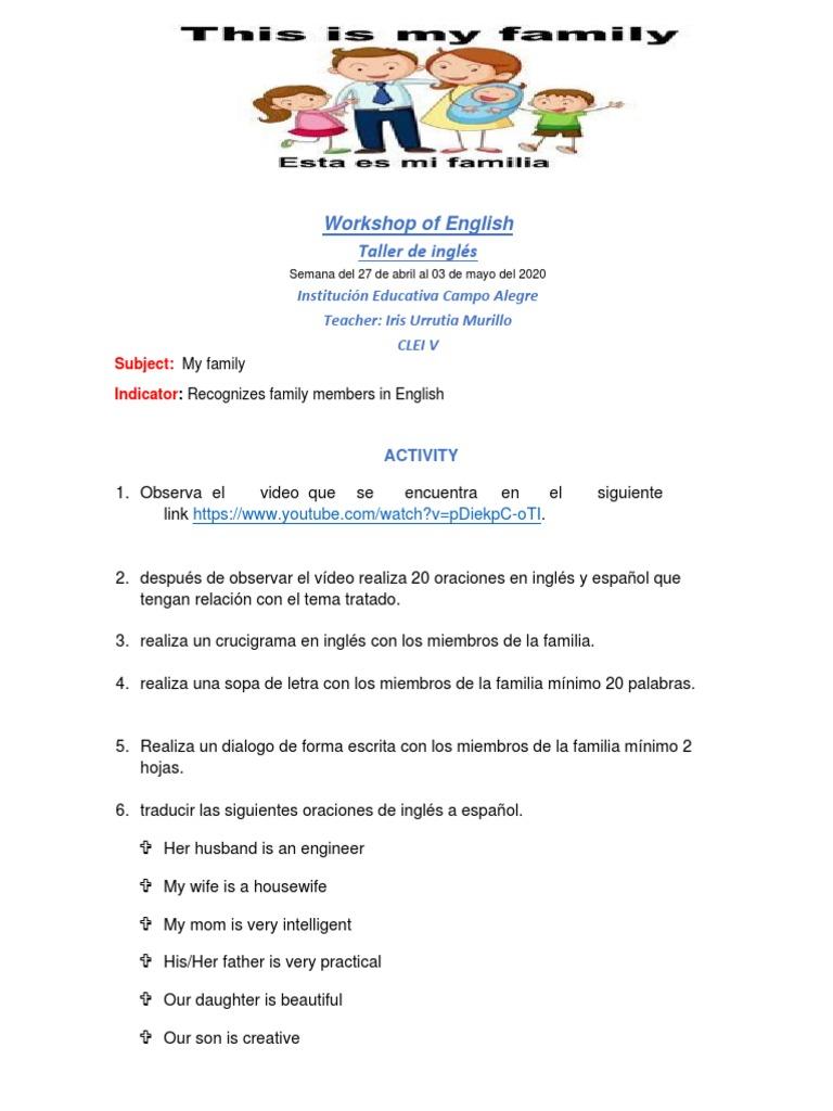 Workshop of English Taller de inglés: Institución Educativa Campo Alegre  Teacher: Iris Urrutia Murillo Clei V