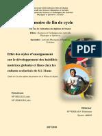 Effet des styles d'enseignement sur le développement des habilités motrices globales et fines chez les enfants scolarisés de 6 à 11ans.pdf