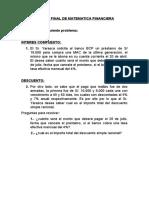 EXAMEN FINAL DE MATEMÁTICA FINANCIERA