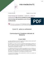 Communiqué de l'Académie - Covid-19 - sortie du confinement - Académie nationale de médecine | Une institution dans so