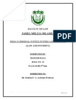 Masoom Raza, Ba LLb(H) 4th sem. Indias Criminal Justice System and the Poor.