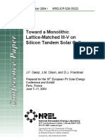 TOWARD A MONOLITHIC LATTICE-MATCHED III-V ON SILICON TANDEM SOLAR CELL