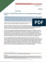 Trade Data on China and Medical Supplies