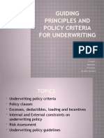 Establishing Underwriting Policy for Insurance Prducts