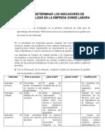 INFORME DETERMINAR LOS INDICADORES DE GESTIÓN A UTILIZAR EN LA EMPRESA DONDE LABORA
