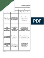 Rúbrica para evaluar Diseño de Eva. Diagnóstica – Co Evaluación