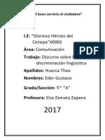 Discurso -Discriminacion Linguistica