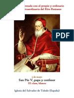 5 de Mayo. San Pio V, papa y confesor. Propio y Ordinario de la misa