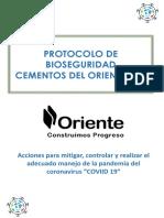 PROTOCOLO DE BIOSEGURIDAD  COVID-19 - CEMENTOS DEL ORIENTE S.A.
