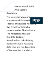 AIWFF honors Nawal, Laila Fahmy, Anis Ebeid's daughters